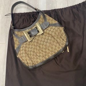 Gucci Hobo Queen Bow Guccisimma Brown Shoulder Bag